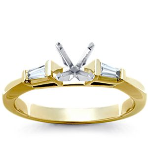 Bague de fiançailles diamants taille baguette, sertis en rail en platine (1/2carat, poids total)