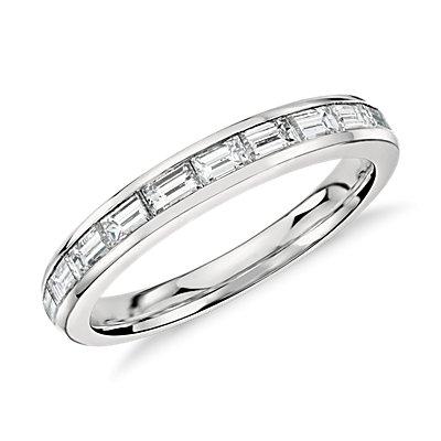 Bague diamant taille baguette, sertis en rail en platine (2/3carat, poids total)