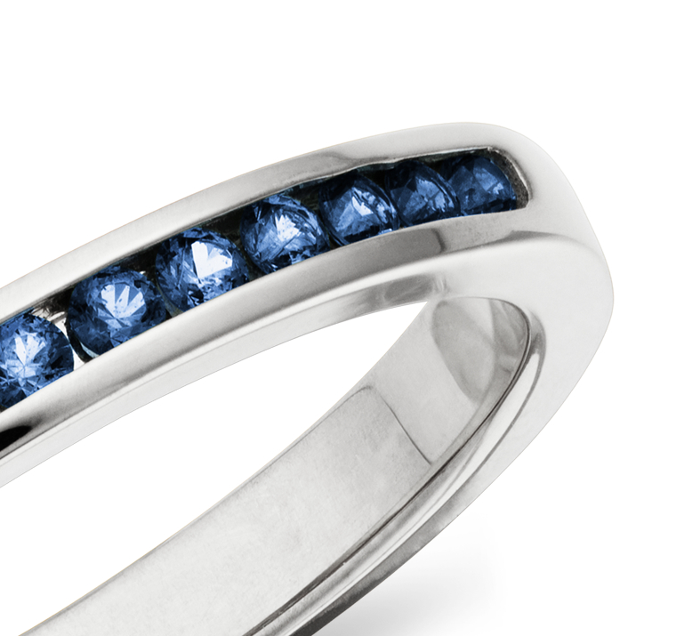 Blue Sapphire Channel Set Ring in 14k White Gold