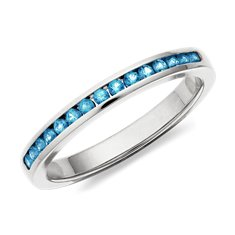 Blue Topaz Channel Set Ring in 14k White Gold