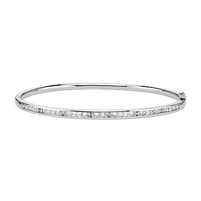 Channel-Set Diamond Bangle in 18k White Gold (1 ct. tw.)