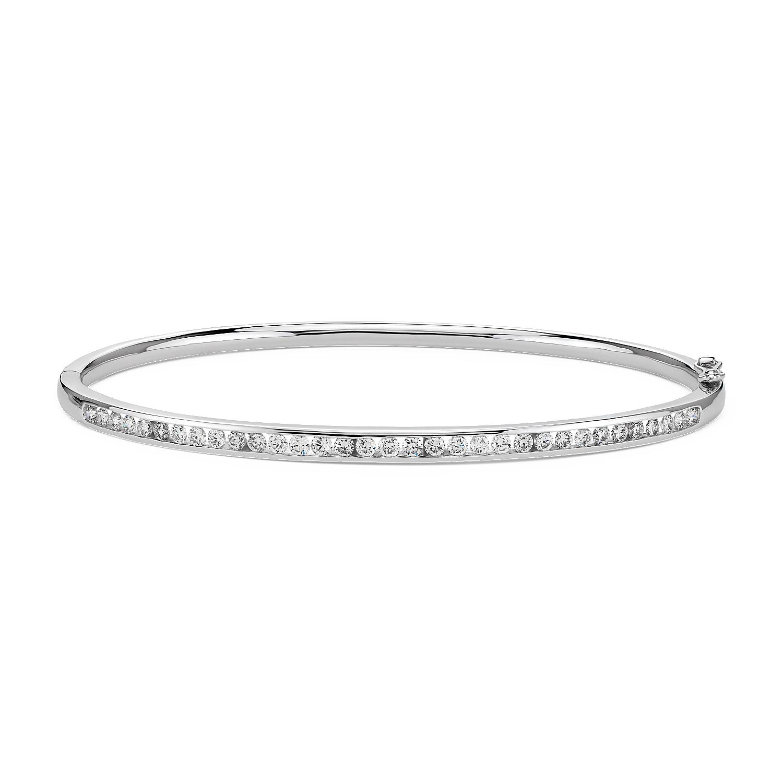 Esclava de diamantes con montura de canal en oro blanco de 18k (1 qt. total)