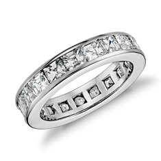 Asscher Cut Channel-Set Diamond Eternity Ring in Platinum (4.5 ct. tw.)