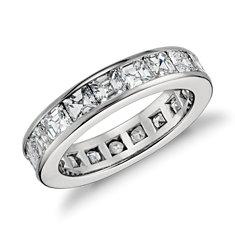 Bague d'éternité en diamant serti barrette taille Asscher en platine (4,5carats, poids total)