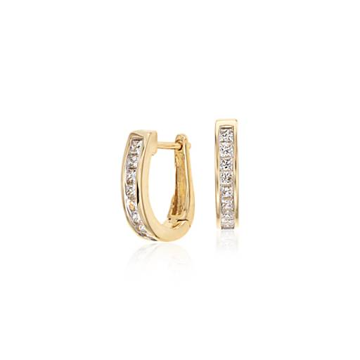 Channel-Set Diamond Hoop Earrings in 18k Yellow Gold