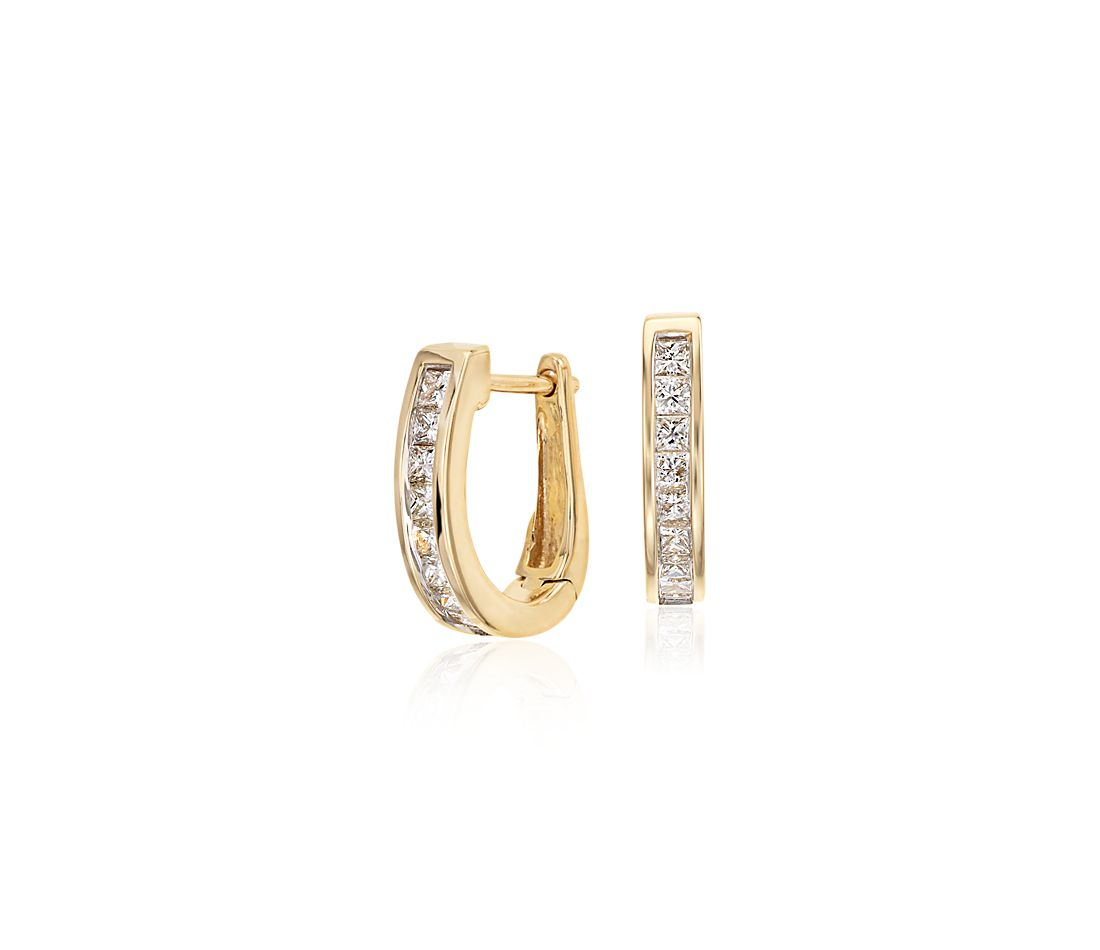 Channel-Set Diamond Hoop Earrings in 18k Yellow Gold (1/2 ct. tw.)