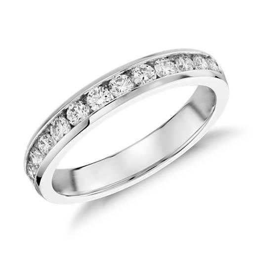 Bague diamant serti barrette  en or blanc 14carats (1/2carat, poids total)