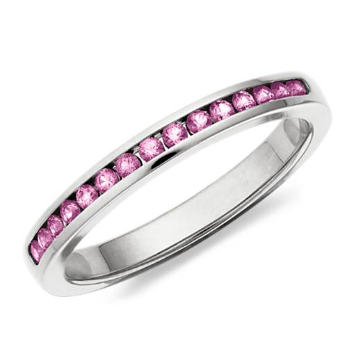 Pink Sapphire Channel Set Ring in 14k White Gold