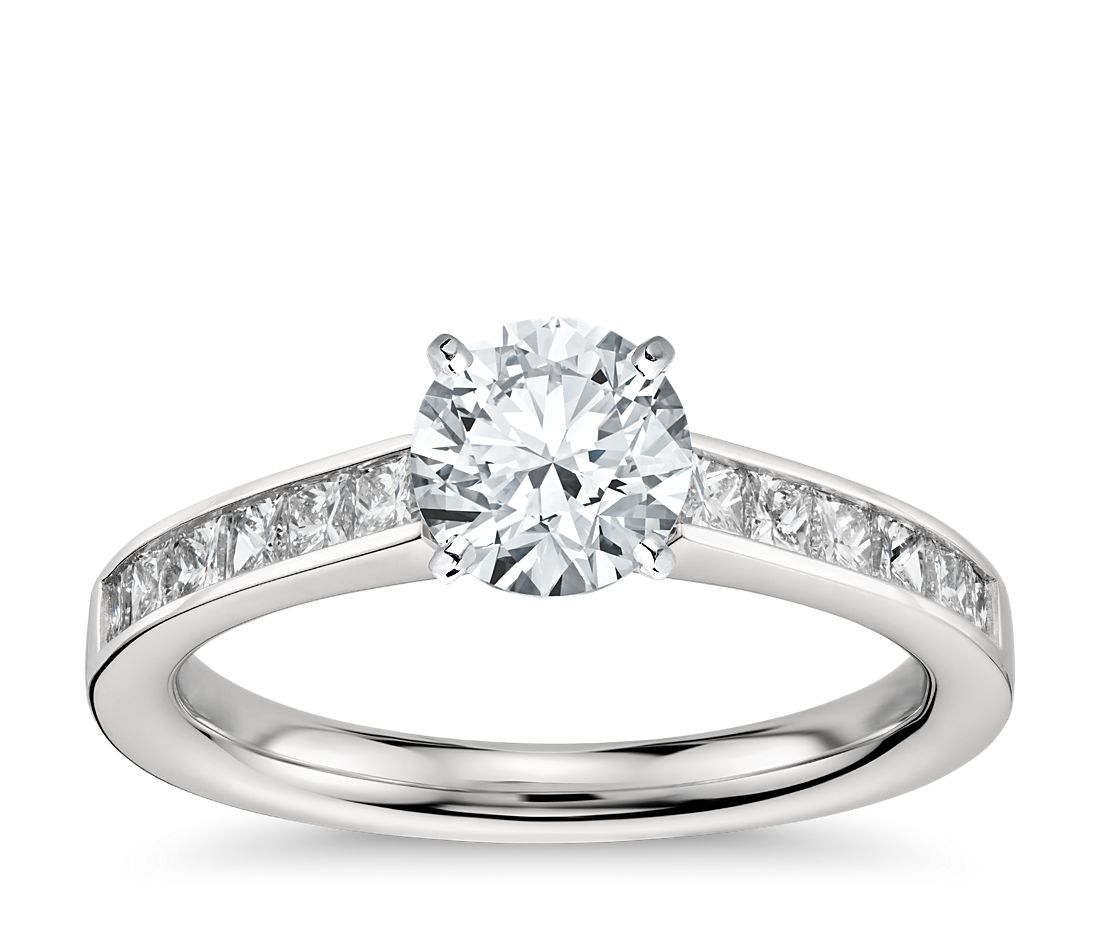 Princess cut channel set diamond engagement ring in for Platinum princess cut wedding rings