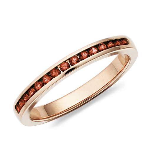 Garnet Channel Set Ring in 14k Rose Gold