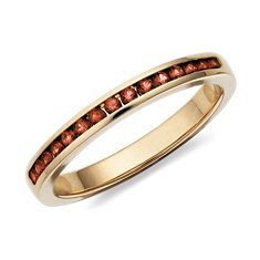 Garnet Channel Set Ring in 14k Yellow Gold