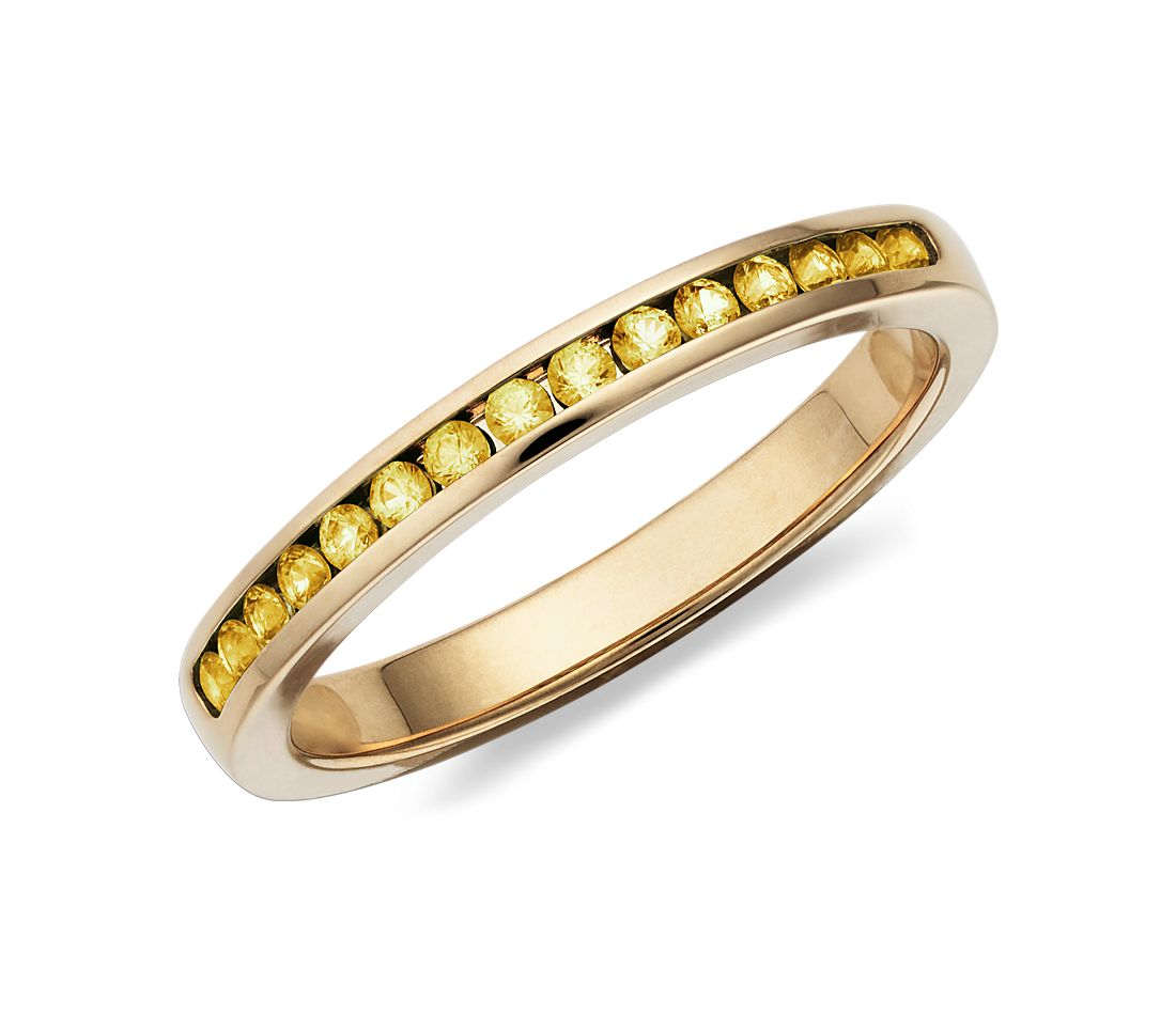 Channel Set Yellow Sapphire Ring in 14k Yellow Gold