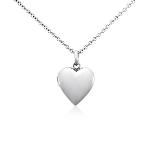 Relicario para niños con forma de corazón en plata de ley