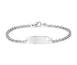 Children's Cross ID Bracelet in Sterling Silver