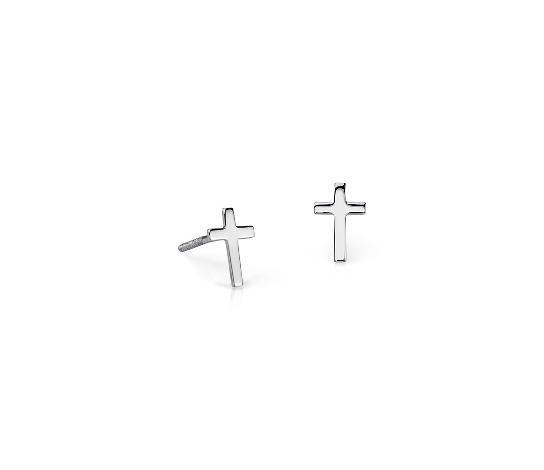 Children's Cross Stud Earrings in Sterling Silver