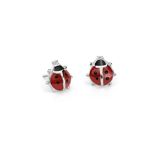Children's Lady Bug Stud Earrings in Sterling Silver
