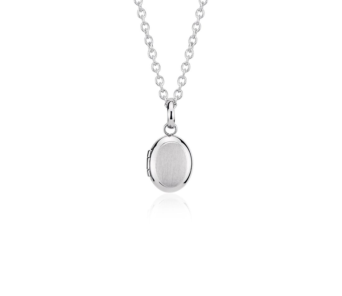 Children's Oval Locket in Brushed Sterling Silver