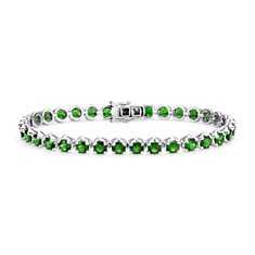 Bracelet Chrome diopside en Argent sterling (4 mm)