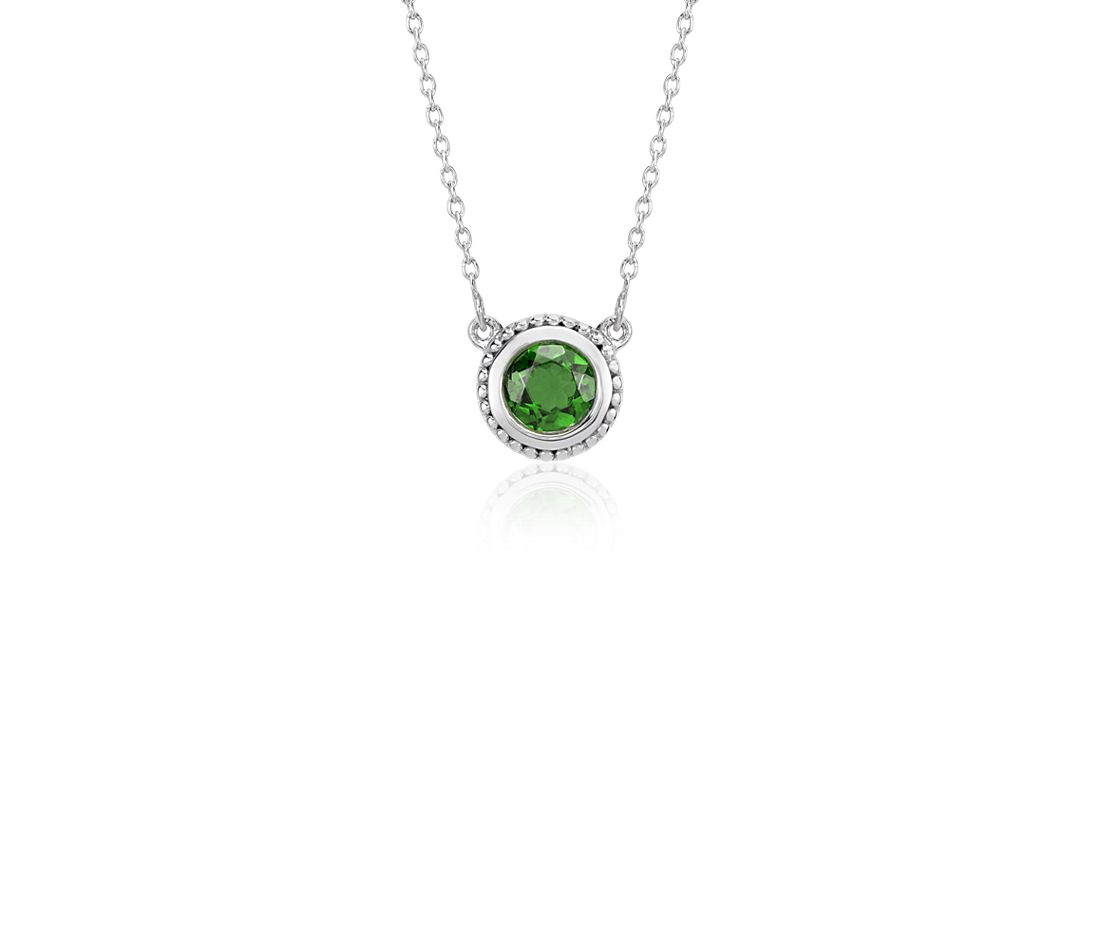 Chrome Diopside Milgrain Necklace in Sterling Silver (5mm)