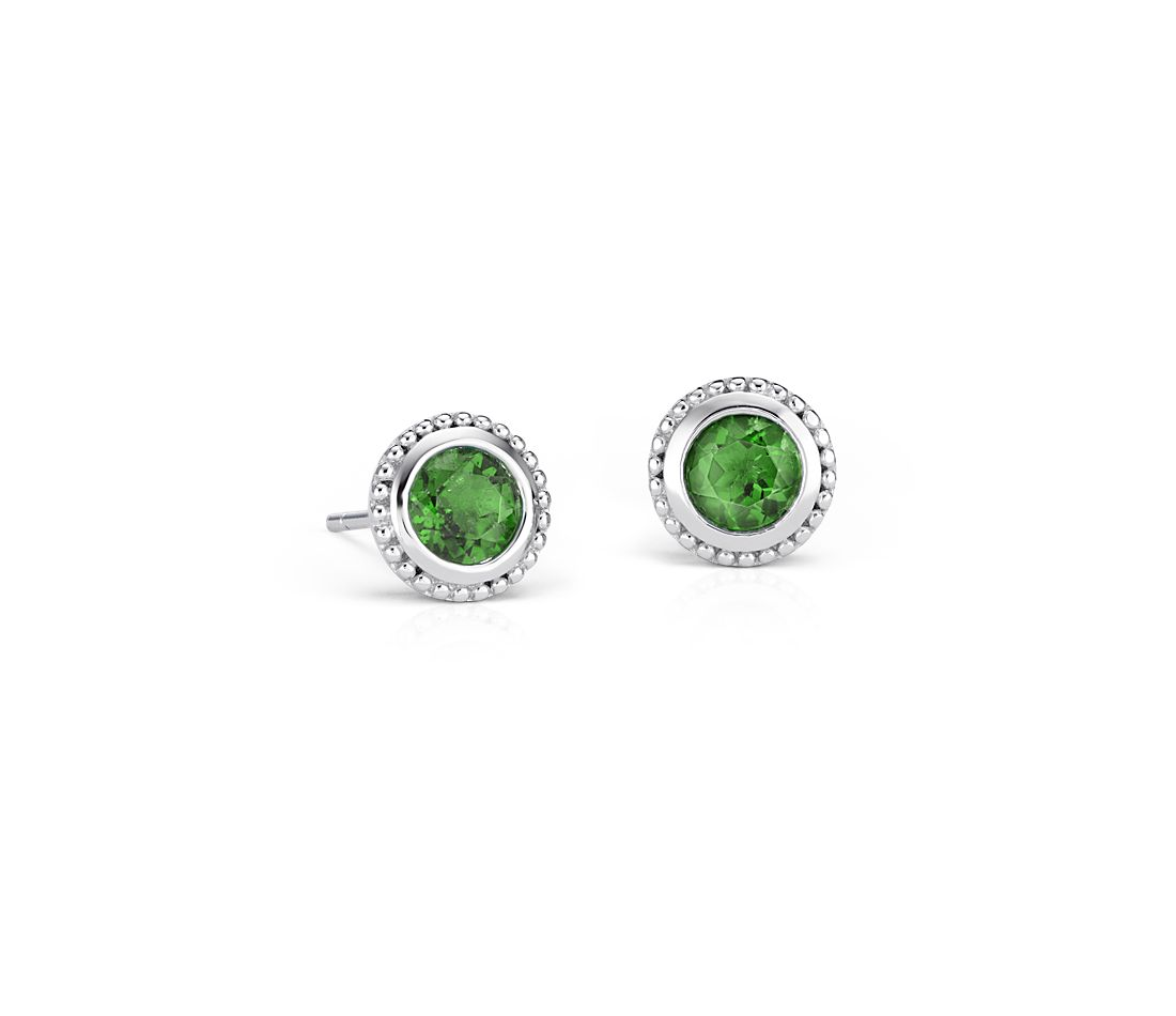 Chrome Diopside Milgrain Stud Earrings in Sterling Silver (5mm)