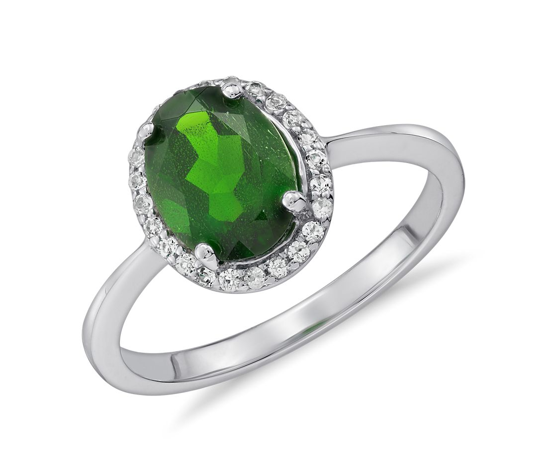 Oval Chrome Diopside and White Topaz Halo Ring in Sterling Silver