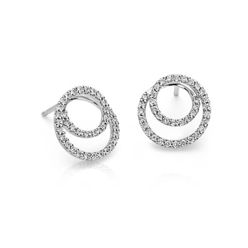 Diamond Circle Earrings in 14k White Gold