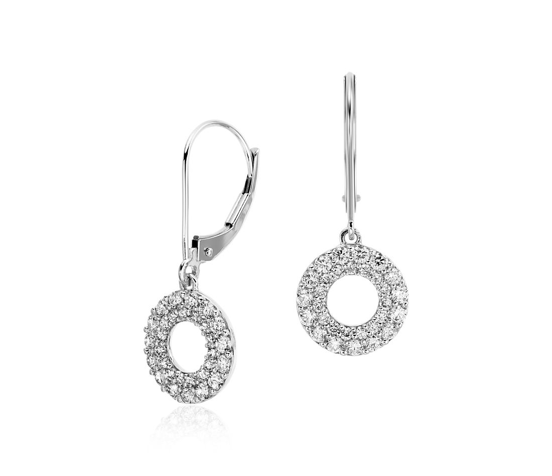 Circle Leverback Diamond Earrings in 18k White Gold