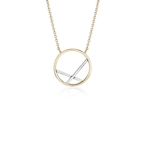 Circle Cross Necklace in 14k White and Yellow Gold