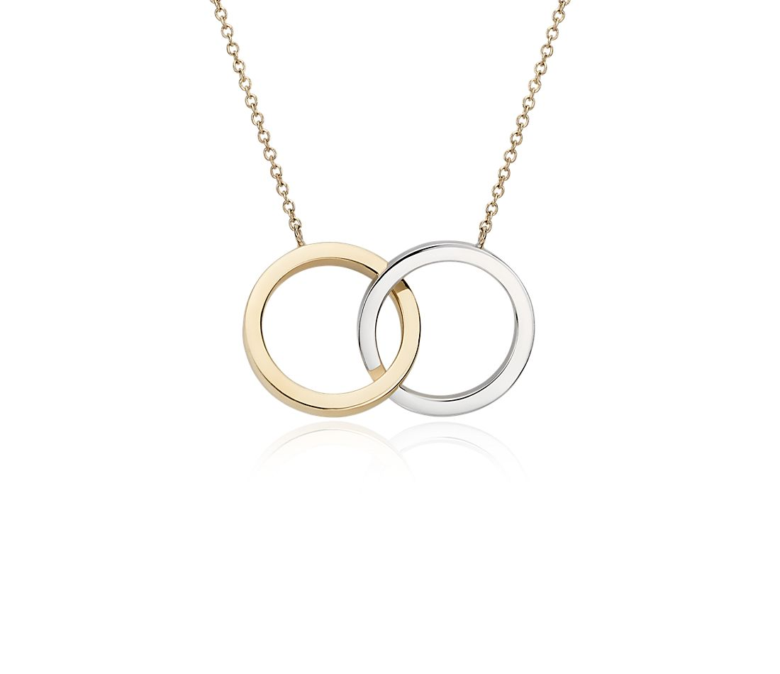 two tone circle necklace in 14k white and yellow gold
