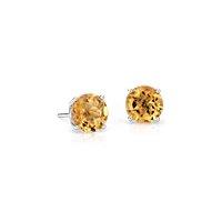 NOUVEAU Puces d'oreilles citrine en or blanc 14carats (7mm)