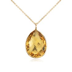 Citrine Teardrop Pendant in 14k Yellow Gold (20x15mm)