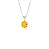 Citrine Solitaire Pendant in 18k White Gold (7mm)