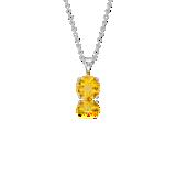 Pendentif solitaire en citrine en or blanc 18carats (7mm)