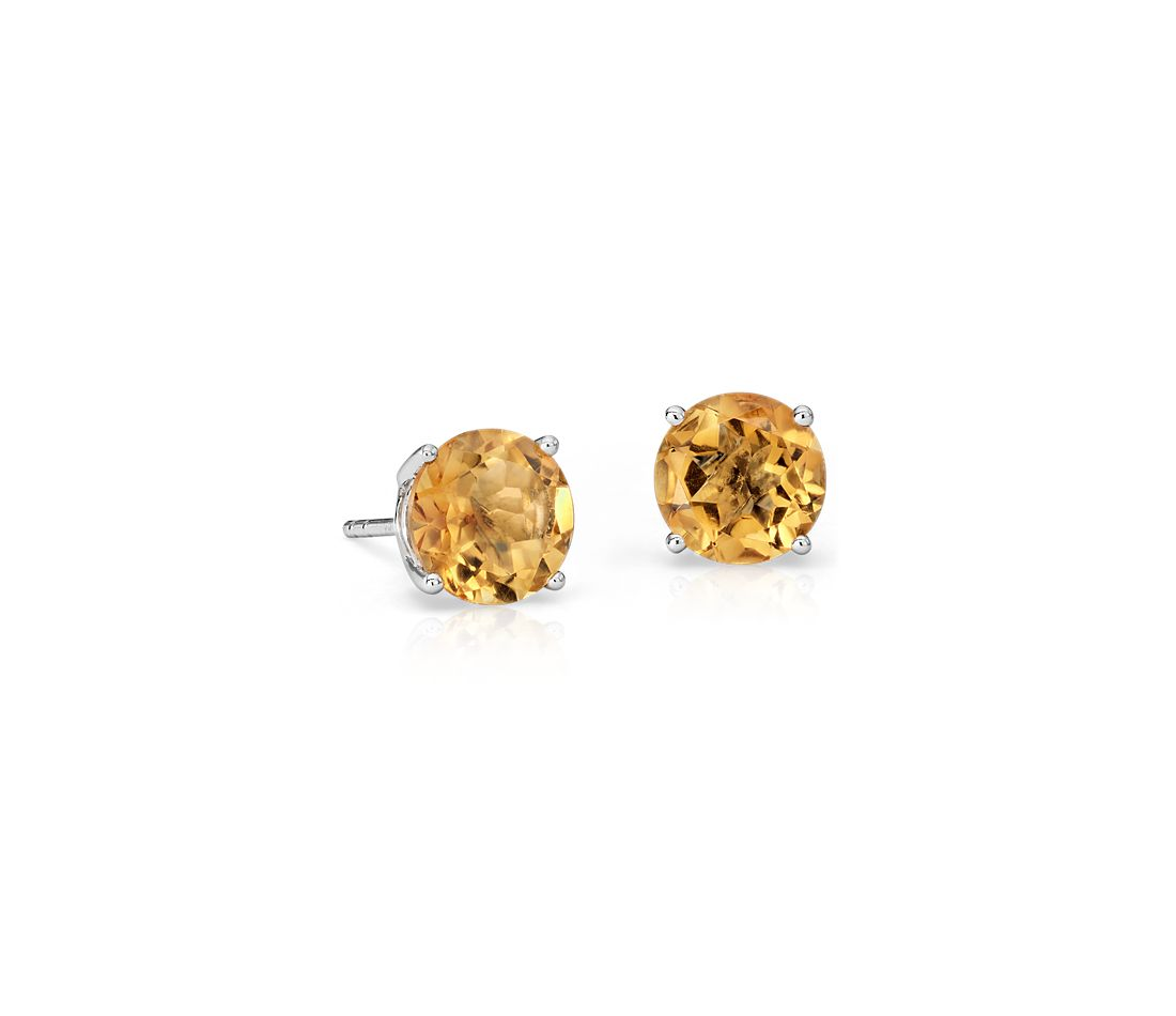 Citrine Stud Earrings in 18k White Gold (7mm)