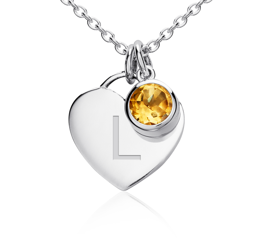 Citrine Birthstone Heart Pendant in Sterling Silver (November) (4.5x4.5mm)