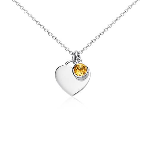 Citrine Birthstone Heart Pendant in Sterling Silver (November)