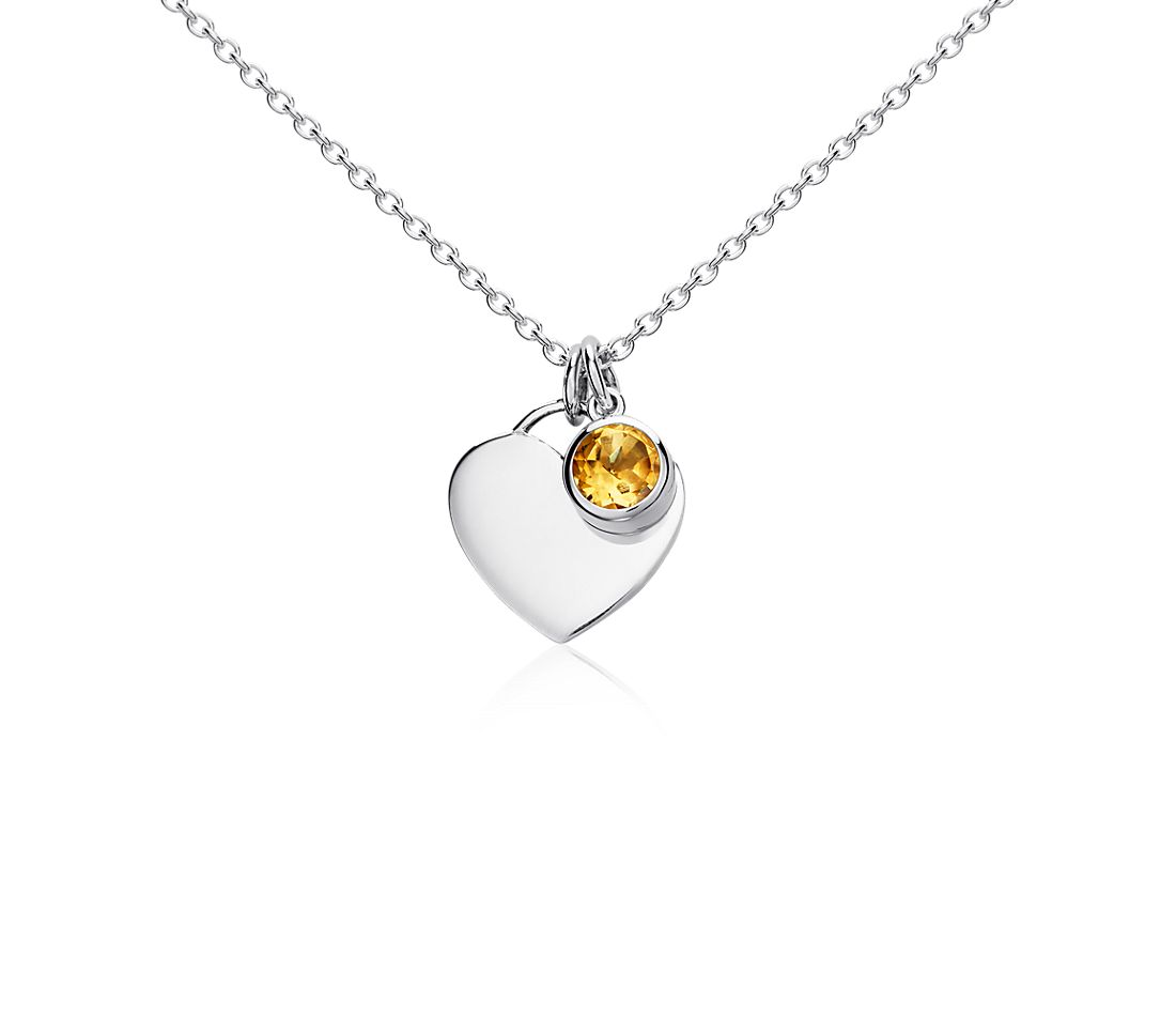 Citrine Birthstone Heart Pendant in Sterling Silver
