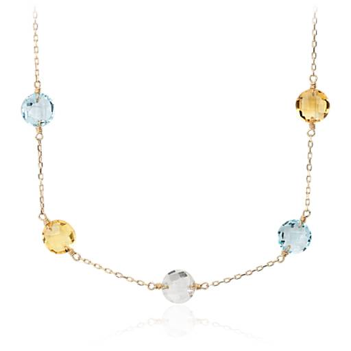Multigemstone Station Necklace in 14k Yellow Gold (8mm)