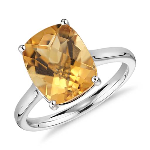 Bague taille coussin citrine en or blanc 14 carats (11x9 mm)