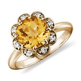 Citrine and Diamond Flower Ring in 14k Yellow Gold