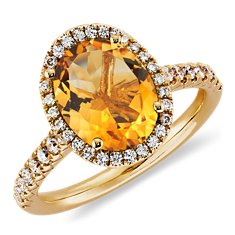 Bague diamant et citrine en Or jaune 18 ct (10x8mm)