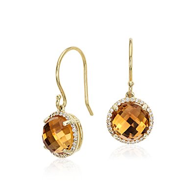 Citrine and Diamond Halo Drop Earrings in 14k Yellow Gold (8mm)