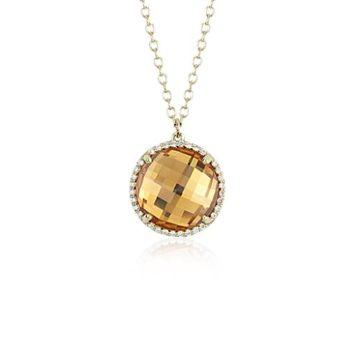 Pendentif halo de diamants et citrine ronds en or jaune 14 carats (12 mm)