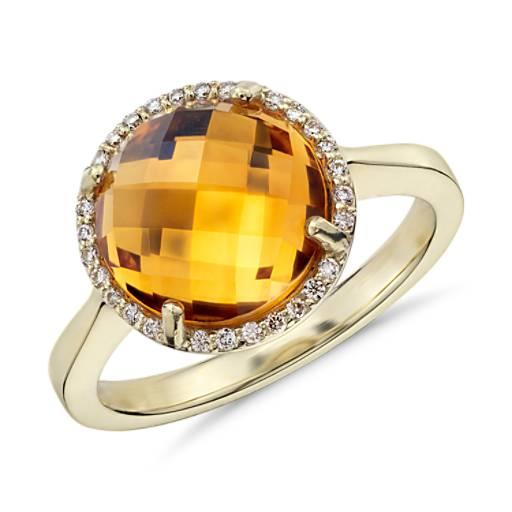 Anillo con cuarzo citrino redondo y halo de diamantes en oro amarillo de 14k (10mm)