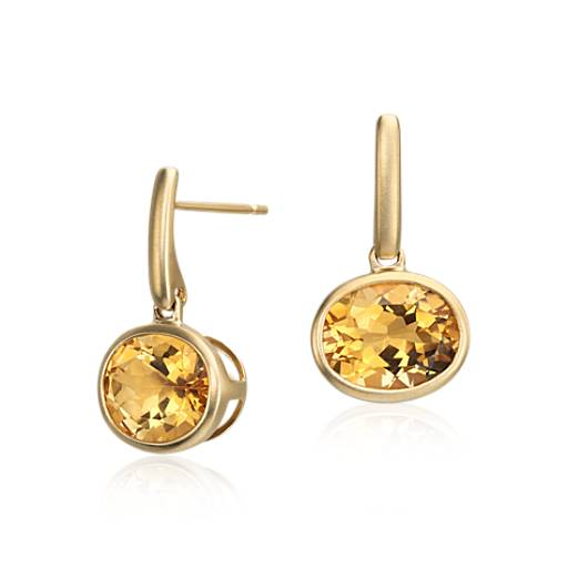 Citrine Drop Earrings in 14k Yellow Gold (10x8mm)