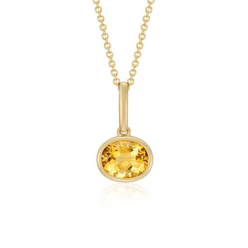 Citrine Pendant in 14k Yellow Gold (10x8mm)