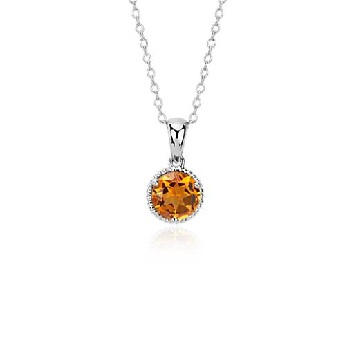 NEW Citrine Rope Pendant in Sterling Silver (7mm)