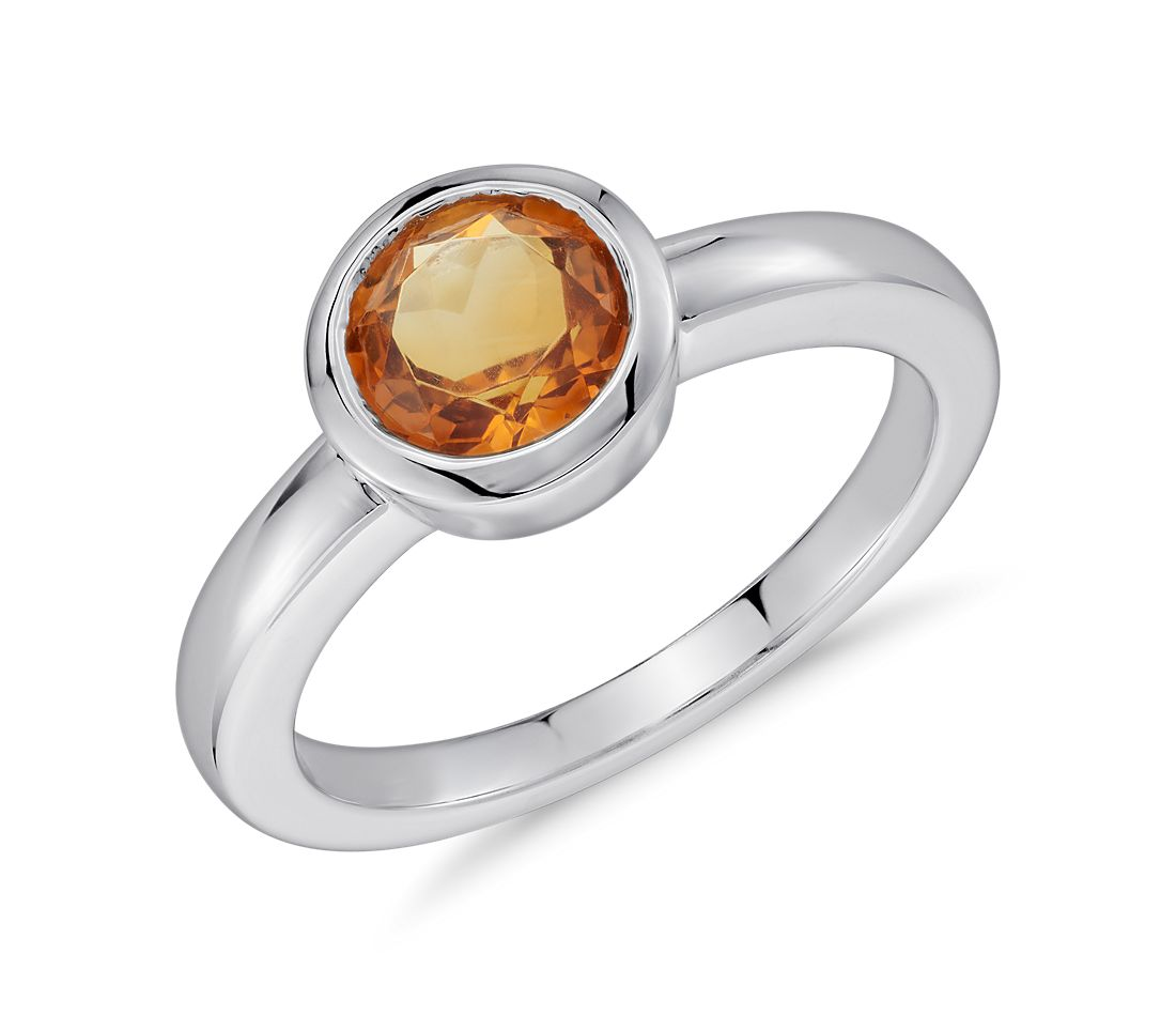 Madeira Citrine Round Bezel-Set Ring in Sterling Silver
