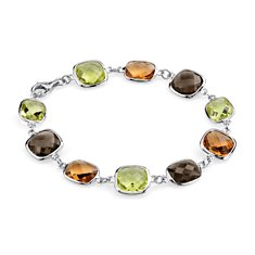 Citrine, Smokey Quartz and Lemon Quartz Bracelet in Sterling Silver