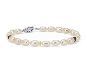 Freshwater Cultured Pearl Bracelet with Citrine and Smoky Quartz in Sterling Silver (5.5-6.0mm)